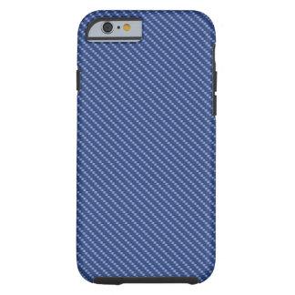 Base azul de la fibra de carbono funda resistente iPhone 6