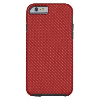 Base blanca roja de la fibra funda para iPhone 6 tough