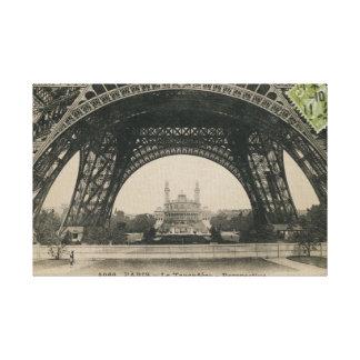 Base blanco y negro de la torre Eiffel Impresión En Lienzo Estirada