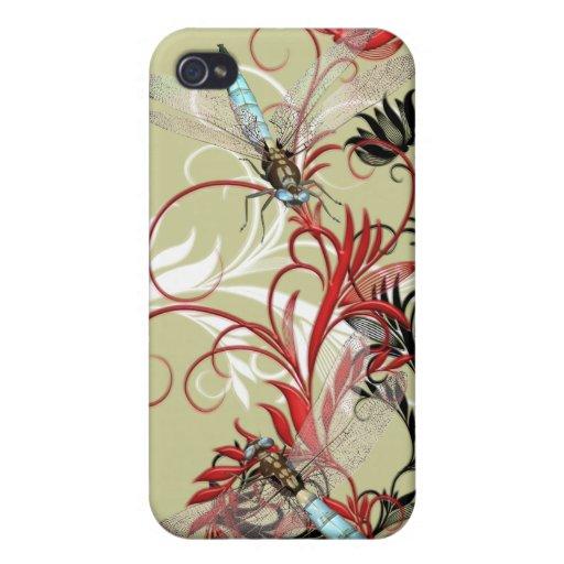 Base cambiante del color floral del Flourish de la iPhone 4 Funda