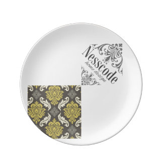 Base colección Damask lime&gray Plano Platos De Cerámica