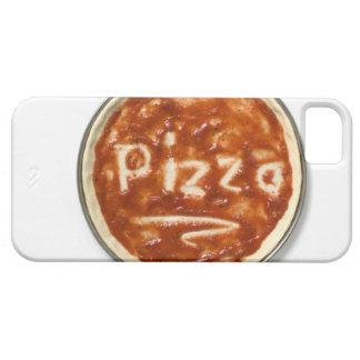 Base de la pizza con la salsa de tomate y la iPhone 5 funda
