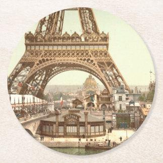 Base de la torre Eiffel, París, Francia Posavasos De Cartón Redondo