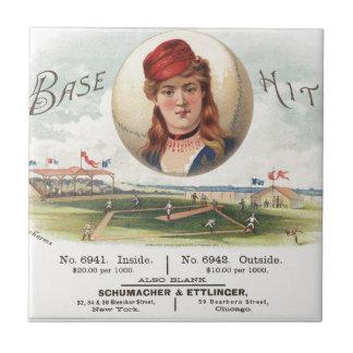 Base Hit Vintage Beisbol Habanos Azulejo Cuadrado Pequeño