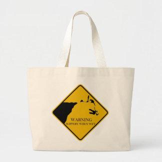 Base Jump Warning Sign Large Tote Bag