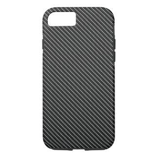 Base negra y gris de la fibra de carbono funda iPhone 7