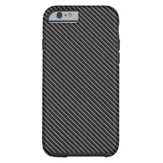 Base negra y gris de la fibra de carbono funda resistente iPhone 6