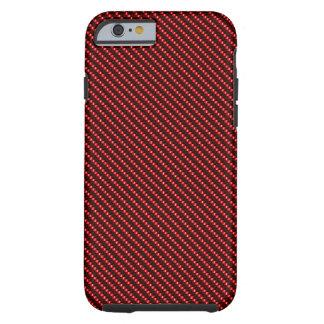 Base roja de la fibra funda para iPhone 6 tough