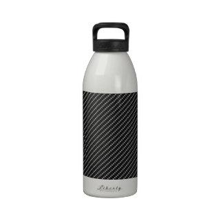 Base roja y negra de la fibra de carbono botella de agua