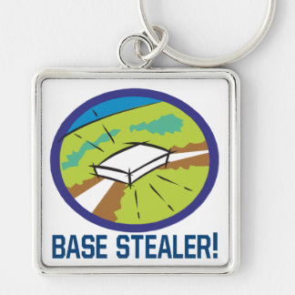 Base Stealer Silver-Colored Square Keychain