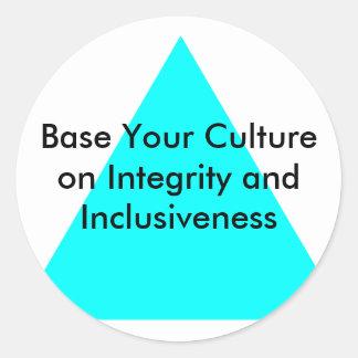 Base su cultura en integridad y integración etiqueta redonda