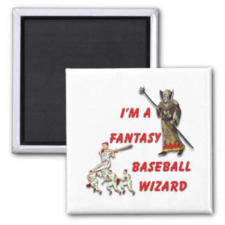 Basebal Wizard #2 2 Inch Square Magnet