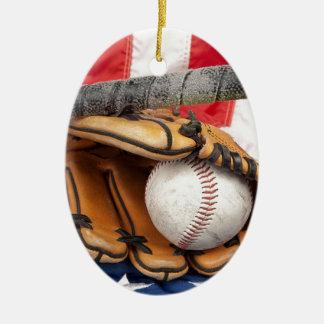 Baseball 18 USA Ceramic Ornament