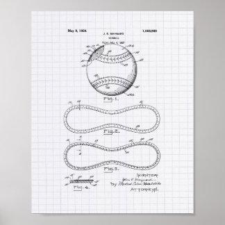 Baseball 1928 Patent Art - Lined Peper Poster