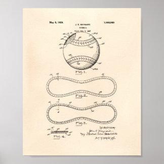 Baseball 1928 Patent Art - Old Peper Poster