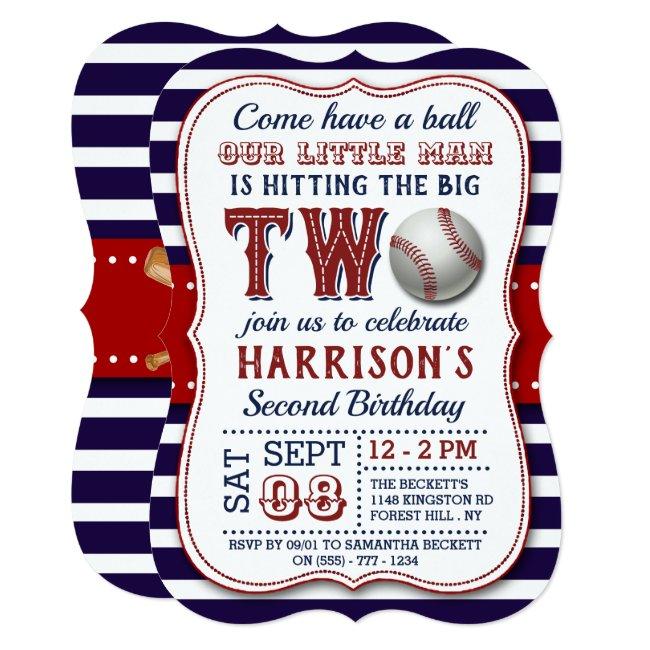 Baseball 2nd Birthday Invitations