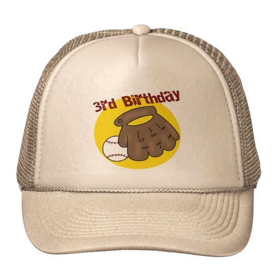Baseball 3rd Birthday Gifts Trucker Hat
