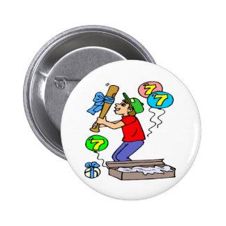Baseball 7th Birthday Gifts 2 Inch Round Button