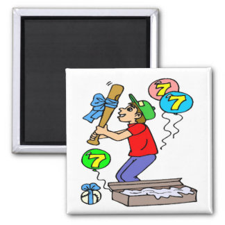 Baseball 7th Birthday Gifts 2 Inch Square Magnet
