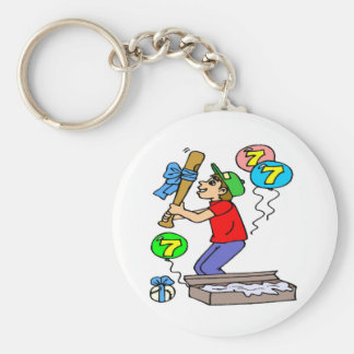 Baseball 7th Birthday Gifts Basic Round Button Keychain