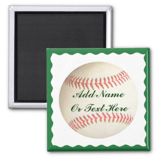 BASEBALL ADD NAME OR TEXT HERE-MAGNET 2 INCH SQUARE MAGNET