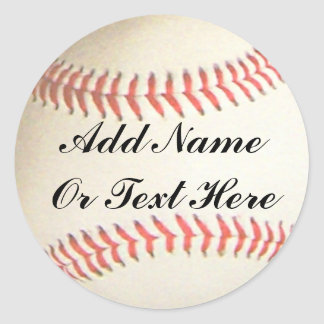 BASEBALL ADD NAME OR TEXT HERE-STICKER CLASSIC ROUND STICKER