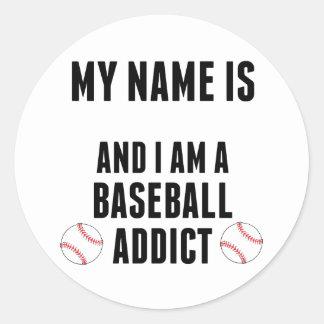 Baseball Addict Round Sticker