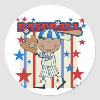 BASEBALL African American Boy tshirts and Gifts Classic Round Sticker