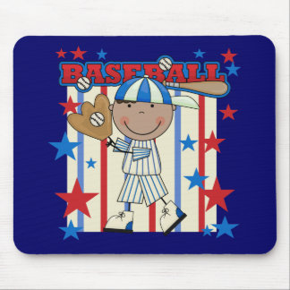 BASEBALL African American Boy tshirts and Gifts Mouse Pad