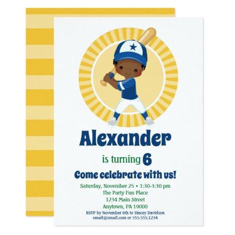 Baseball African American Boys Birthday Invitation