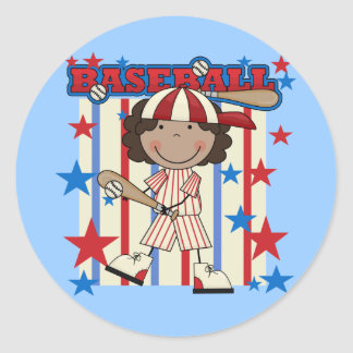 BASEBALL African American Girl T-shirts and Gifts Classic Round Sticker