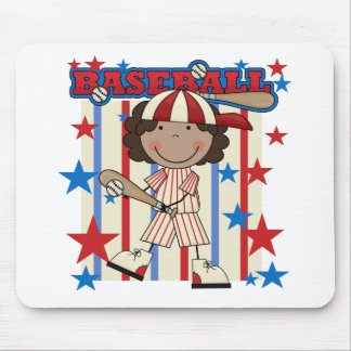 BASEBALL African American Girl T-shirts and Gifts Mouse Pad