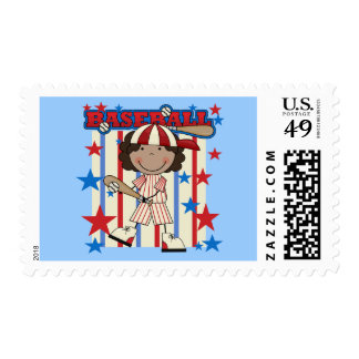 BASEBALL African American Girl T-shirts and Gifts Postage Stamps