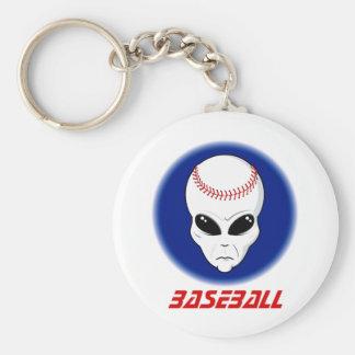Baseball Alien Basic Round Button Keychain