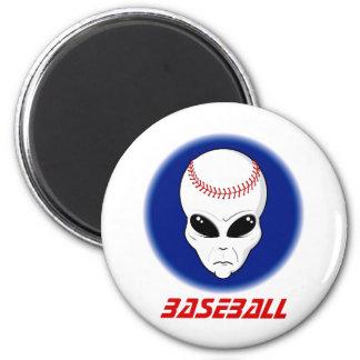 Baseball Alien 2 Inch Round Magnet