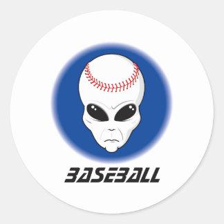 Baseball Alien Skull Classic Round Sticker