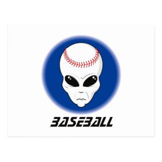 Baseball Alien Skull Postcard