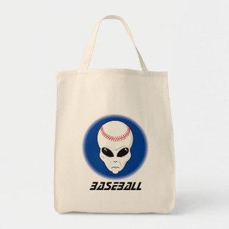 Baseball Alien Skull Tote Bag