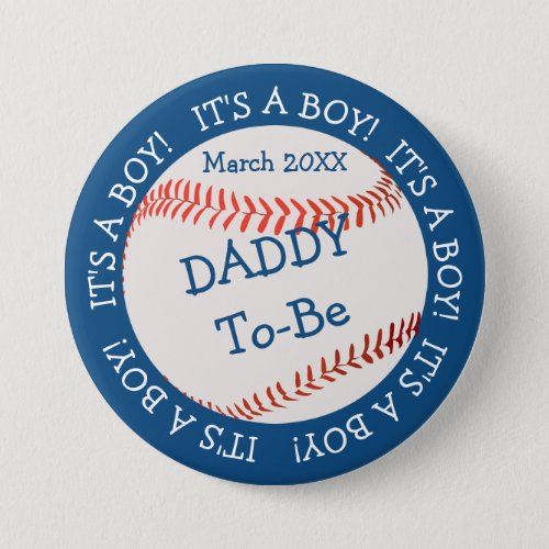 Baseball All American Daddy  Date Button