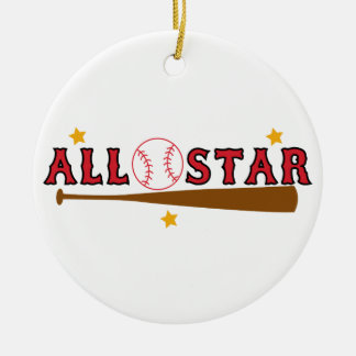 Baseball All Star Ceramic Ornament
