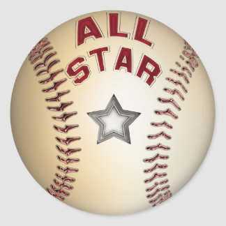 Baseball All Star Classic Round Sticker