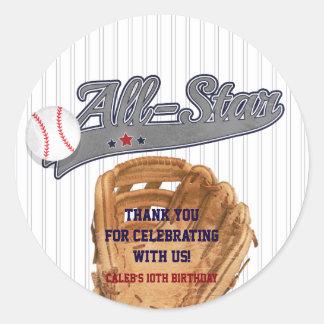 Baseball ALL-STAR Sports Custom Party Favor Classic Round Sticker