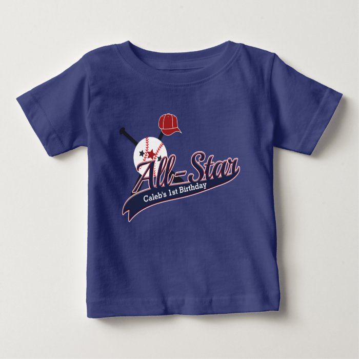 Baseball All Star Sports Custom Personalized Baby T Shirt