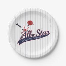 Baseball ALL-STAR Sports Custom Personalized Paper Plate  sc 1 st  Zazzle & All Star Sports Plates | Zazzle