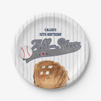 Baseball ALL-STAR Sports Custom Personalized Paper Plate