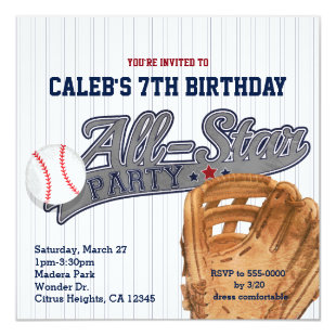 Baseball All Star Sports Striped Birthday Party Invitation