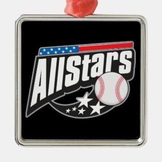 Baseball All Stars Square Metal Christmas Ornament