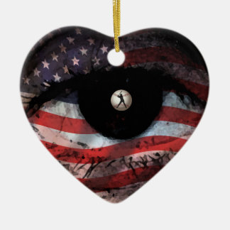 BASEBALL AMERICAN FLAG CHRISTMAS ORNAMENT EYE LOVE