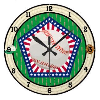 Baseball Americana Large Clock