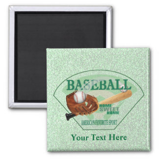 Baseball – Americas Favorite Sport Design 2 Inch Square Magnet
